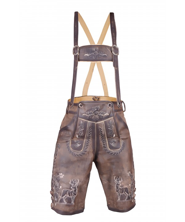 Trachten Short Authentic Lederhosen Shaded Brown