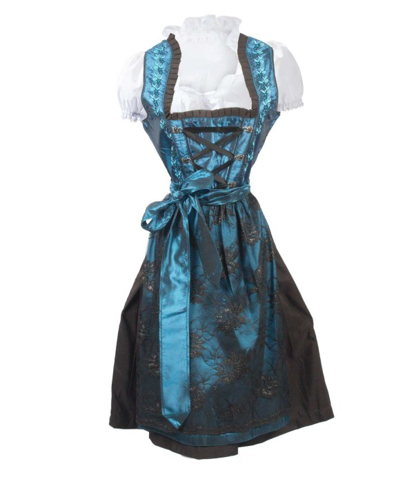 German Vintage Traditional Dirndl Dress Blue
