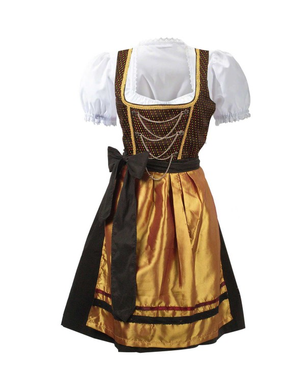 Vintage Midi Dirndl Dress Black Gold