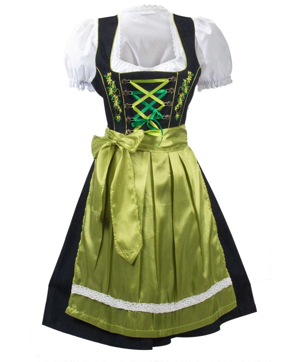 Midi Dirndl Dress Green 2 Way Flip Apron