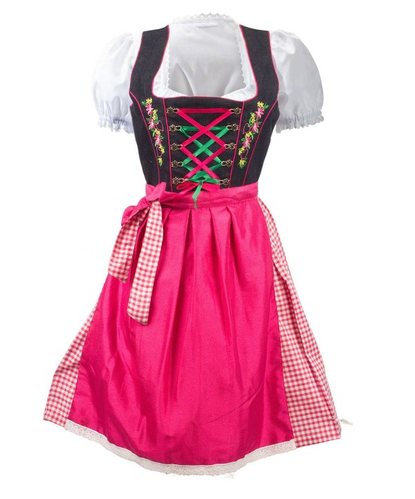 Midi German Dirndl Pink 2 Way Flip Apron
