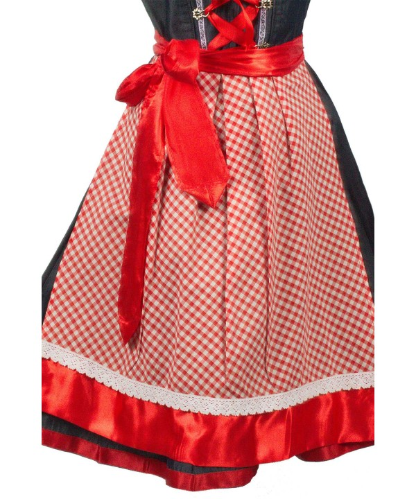 German Dirndl Midi Dress Denim Red