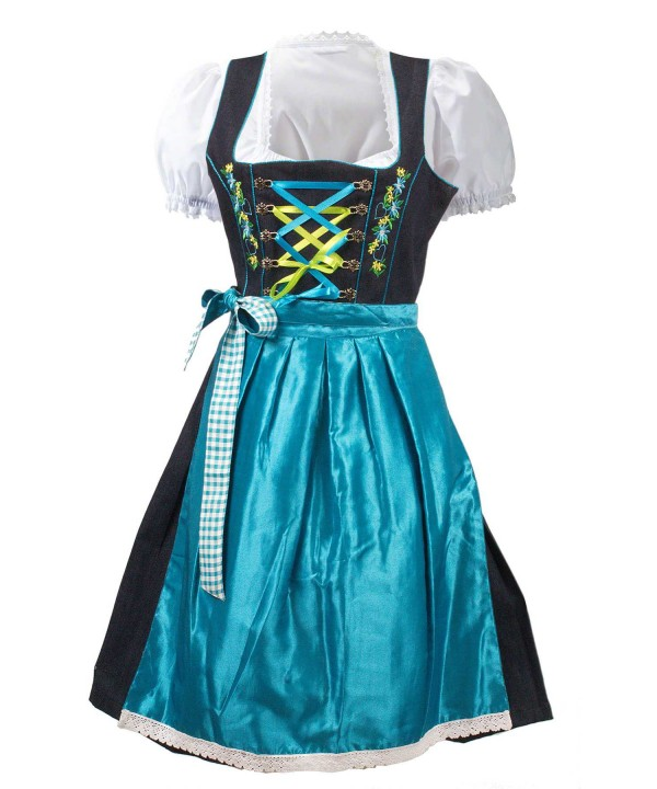 German Dirndl Dress Blue 2 Way Flip Apron