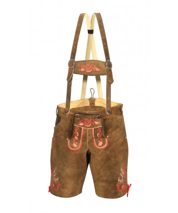 Traditional German Authentic Lederhosen Brown Red