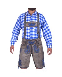 Authentic German Lederhosen Blue Embroidered