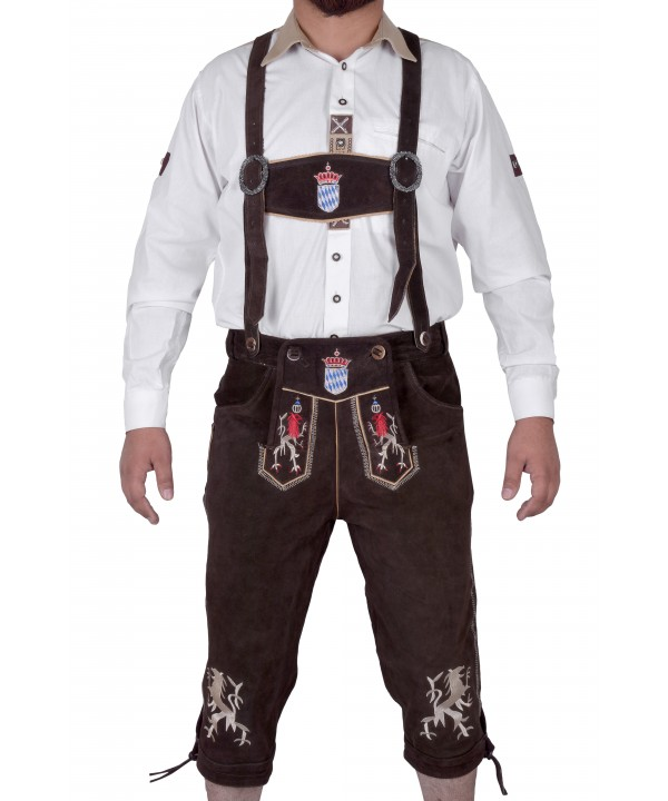 Bavarian Classic Knee Bundhosen Choclate Brown