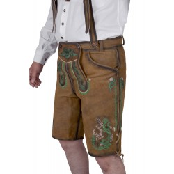 Bavarian Authentic German Lederhosen Gold Brown