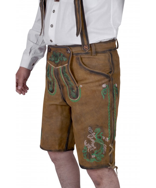 Bavarian Authentic German Lederhosen Gold Brown