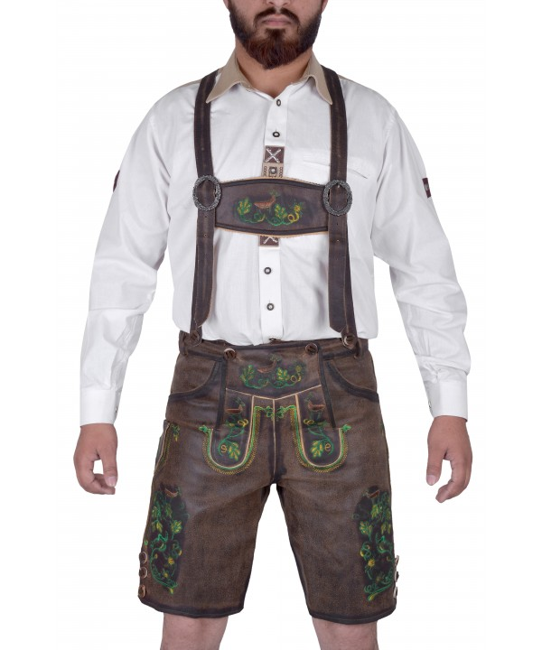 Bavarian Harren German Lederhosen Dark Brown