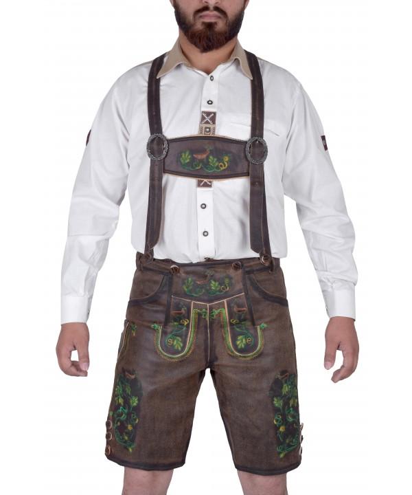 Bavarian Harren German Lederhosen Dark Brown