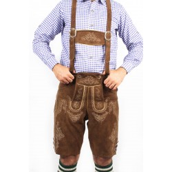 Herren Bavarian German Lederhosen Brown