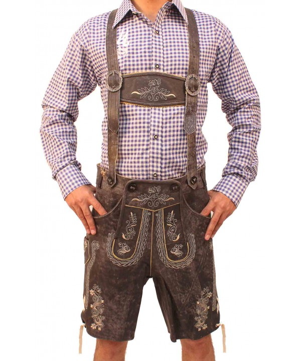 Plattler German Lederhosen Charcoal Black