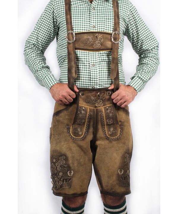 Bavarian Short Lederhosen Real Shaded Brown
