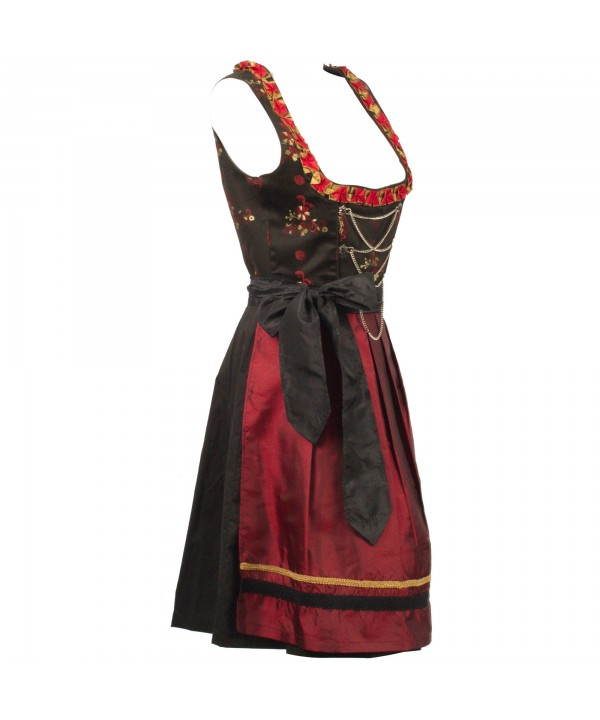 Bavarian Maroon Dirndl Dress Bruna Red