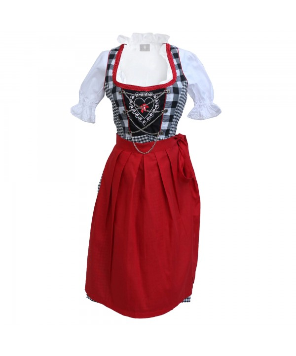 Traditional German Dirndl Black Red