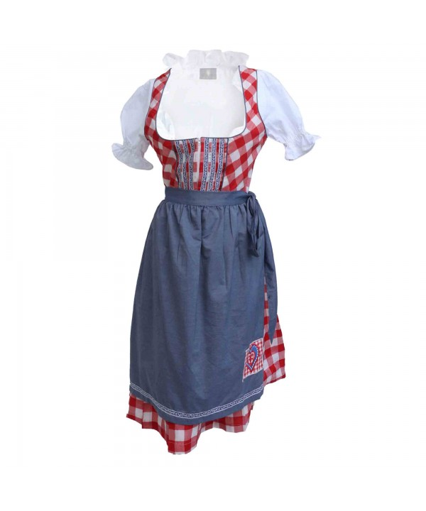 Wensky Midi Denim Dirndl Red Check