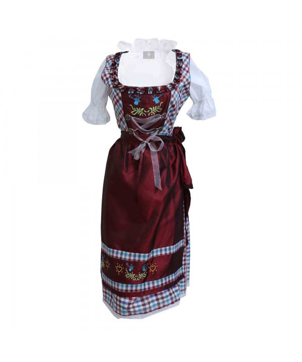 Checkered Midi Dirndl Eva Maroon Wine
