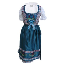Checkered Midi Dirndl Eva Satin Blue