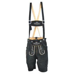 Traditional German Authentic Lederhosen Black