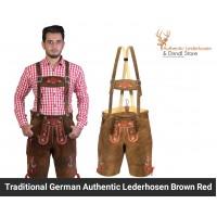 Traditional German authentic Lederhosen Brown Red